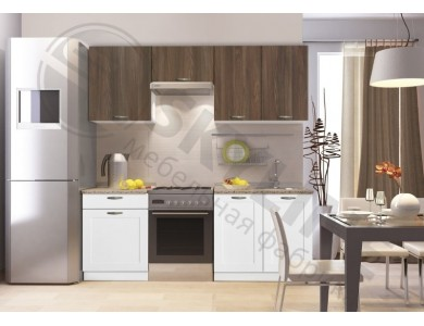 Кухня Базис Nicole-Mix-11 2.1 метра (бело-коричневая)