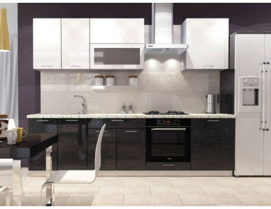 Кухня Базис-32 2.8 метра (черно-белая)