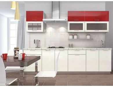 Кухня Базис-46 2.8 метра (красно-белая)