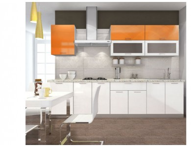 Кухня Базис-49 3 метра (бело-оранжевая)