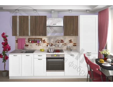 Кухня Базис Nicole-Mix-10 2.9 метра (бело-коричневая)