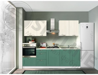 Кухня Базис Nicole-Mix-16 2.4 метра (бело-зеленая)