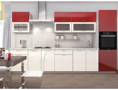 Кухня Базис-25 3.4 метра (красно-белая)