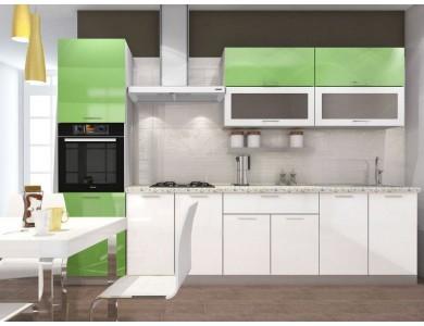 Кухня Базис-28 3 метра (бело-зеленая)