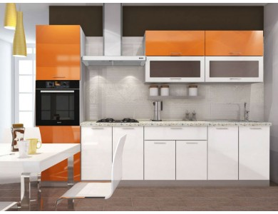 Кухня Базис-29 3 метра (бело-оранжевая)