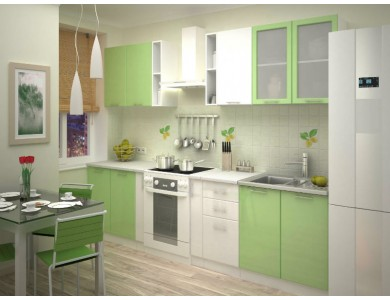 Кухня Базис-36 2.3 метра (бело-зеленая)