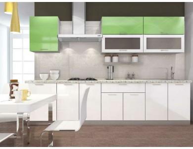 Кухня Базис-48 3 метра (бело-зеленая)