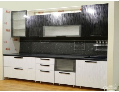Кухня Торино-12 3.1 метра (черно-белая)