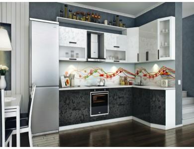 Кухня Торино-14 2.4 метра (черно-белая)